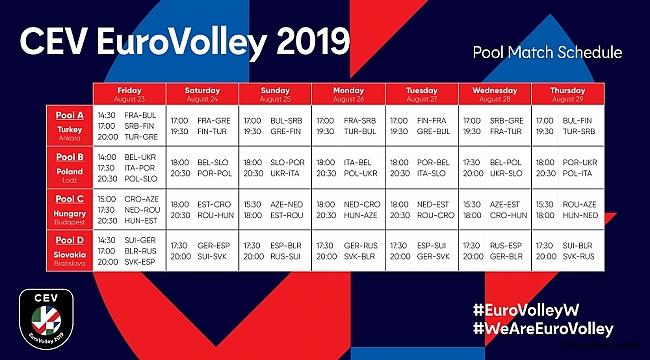 A Bayan Milli Takımımızın, 2019 CEV EuroVolley'deki Maç Programı Belli Oldu