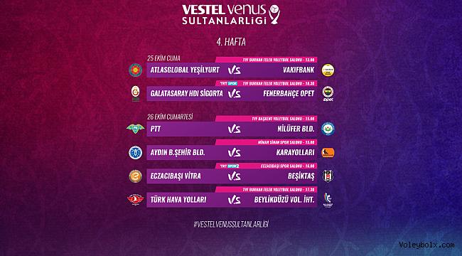 Vestel Venus Sultanlar Ligi'nde 4. Hafta Başlıyor