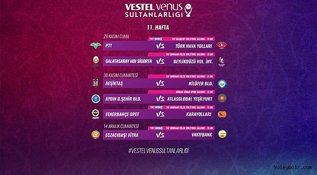 Vestel Venus Sultanlar Ligi'nde 11. Hafta Başlıyor