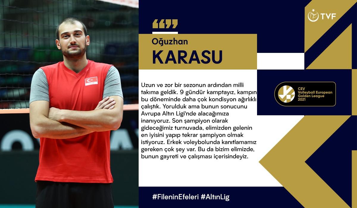 """Oğuzhan Karasu: """"Avrupa Altın Ligi'nde tekrar şampiyon olmak istiyoruz"""""""